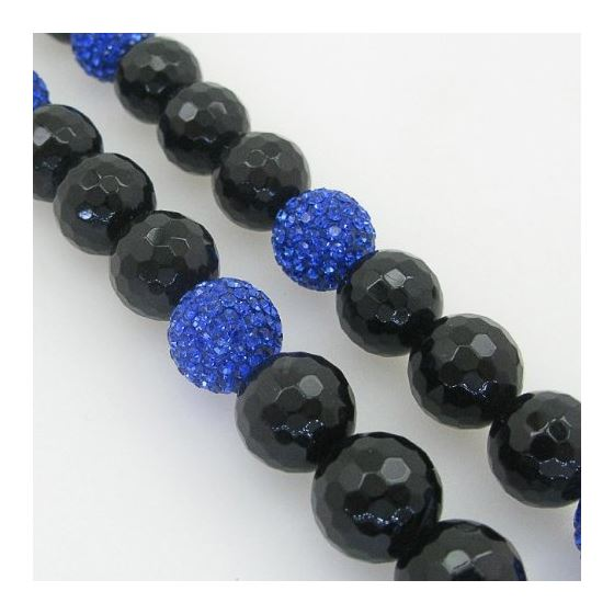 Mens beaded chain crystal gemstone bracelet ball pave necklace black and blue macrame rosary 3