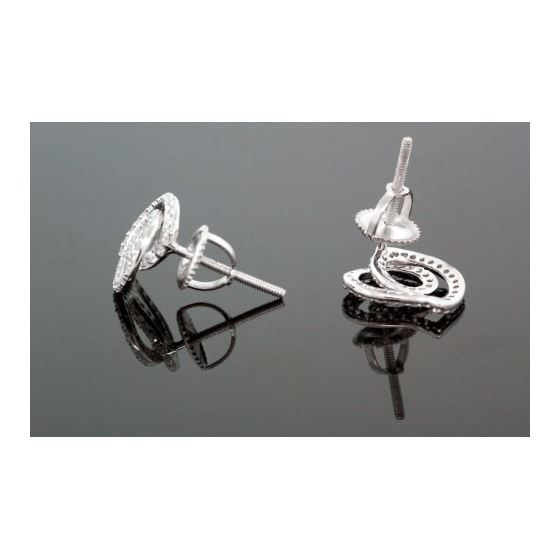 .925 Sterling Silver White Heart White Crystal Micro Pave Unisex Mens Stud Earrings 3