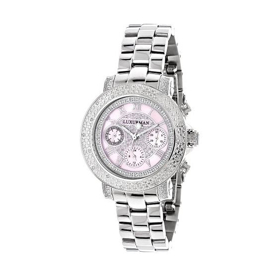 LUXURMAN Ladies Diamond Watch 0.3Ct Pink MOP Overs