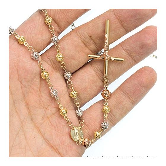 10K 3 TONE Gold HOLLOW ROSARY Chain - 30 Inches Long 5.02MM Wide 3
