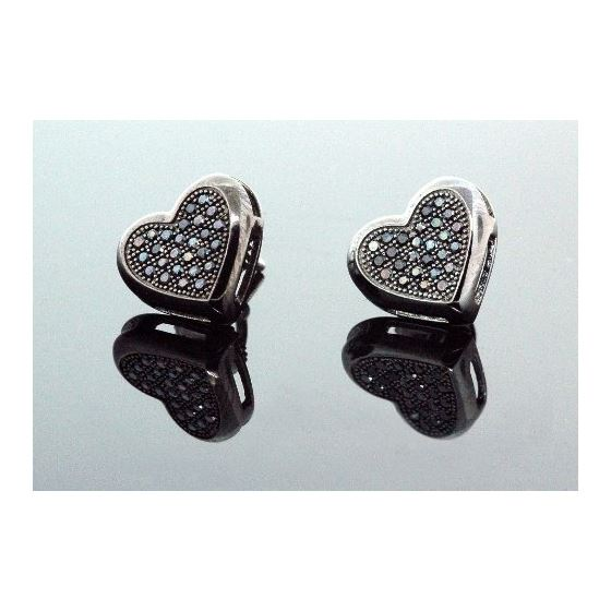 .925 Sterling Silver Black Heart Black Onyx Crystal Micro Pave Unisex Mens Stud Earrings 9mm 1