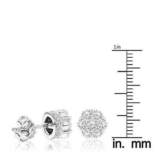 Sterling Silver Rhodium Plated Round Cubic Zirconia Cluster CZ Stud Earrings 3