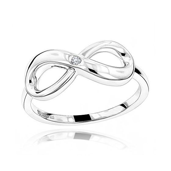 Luxurman Love Quotes: Sterling Silver Infinity Diamond Ring For Women (size 10) 1