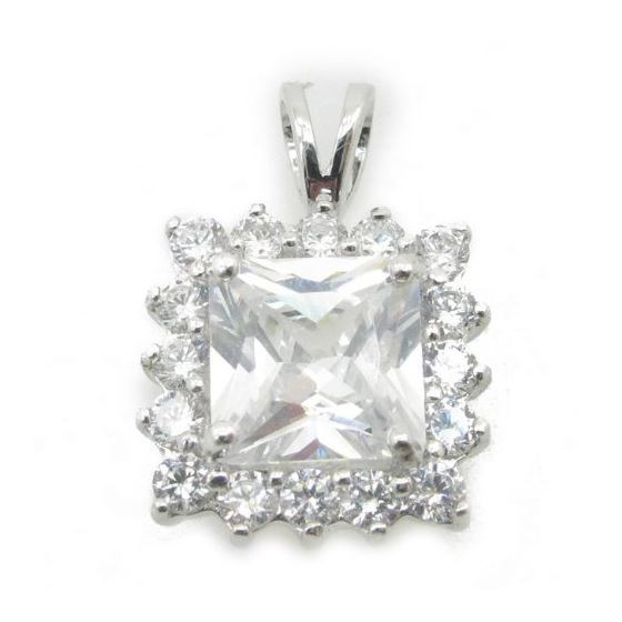 Ladies .925 Italian Sterling Silver fancy pendant with white stone Length - 20mm Width - 13mm 1