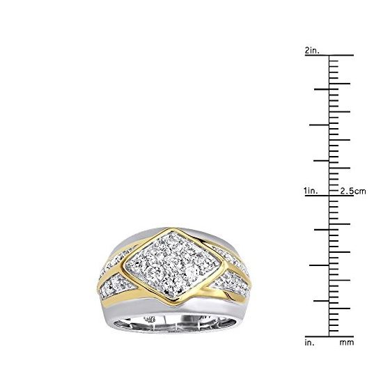 14K Gold Unique Mens Diamond Ring Wedding Band 1-3