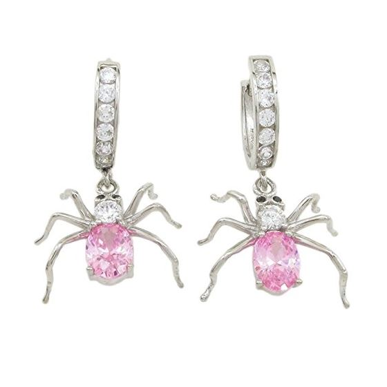 Womens Rose precious stone spider chandelier earring Silver10 1