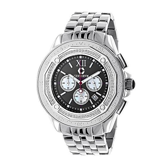 Centorum Unique Falcon Mens Real Diamond Watch 0.55ct White MOP Chronograph 1