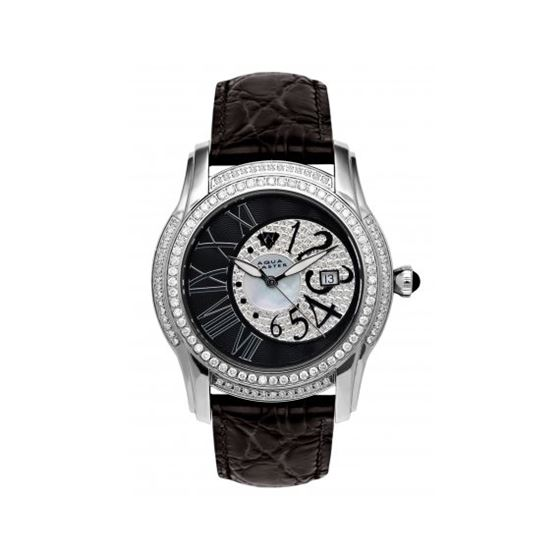 Aqua Master Mens Dual Time Diamond Watch 54551 1