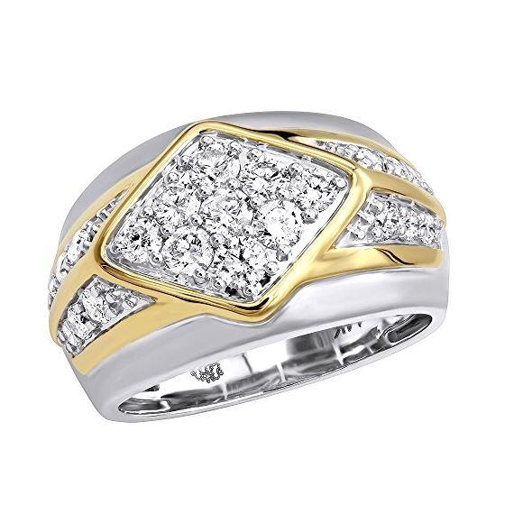 14K Gold Unique Mens Diamond Ring Wedding Band 1.6