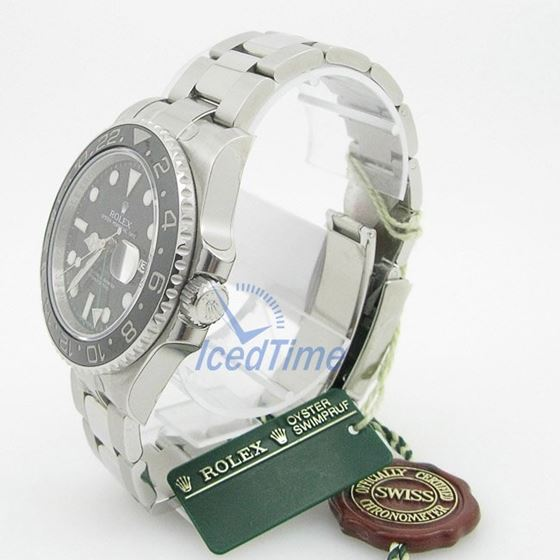 Rolex GMT Master II Black Index Dial Oyster Bracelet Stainless Steel Mens Watch 3