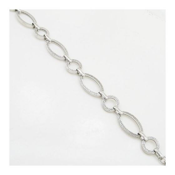 Sterling silver greek key oval round link bracelet SB105 7.5 inches long and 13mm wide 3
