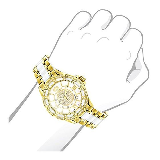 Luxurman Ladies Real Diamond Ceramic Wat 90204 3