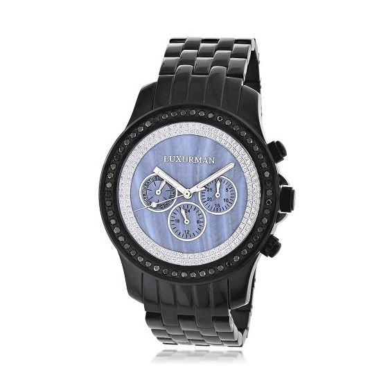 Luxurman Phantom Mens Black Genuine Diamond Watch 2.25ct Blue MOP Chronograph 1