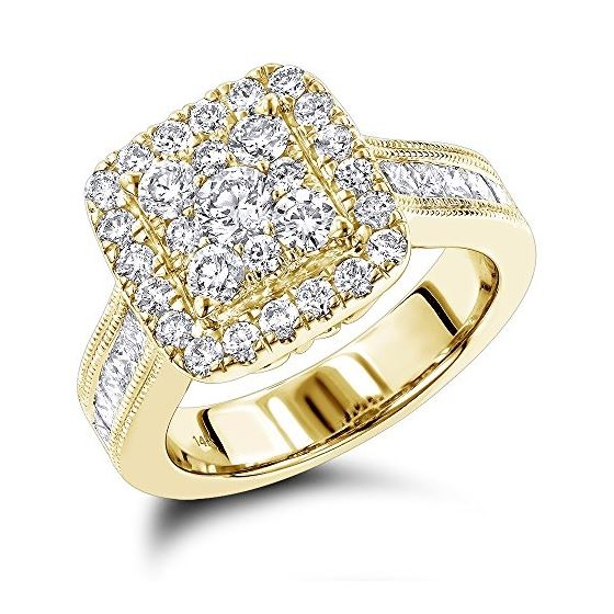 14K Unique Cluster Natural 2 Ctw Diamond Engagement Ring Halo Design  (Yellow Gold Size 8 5)