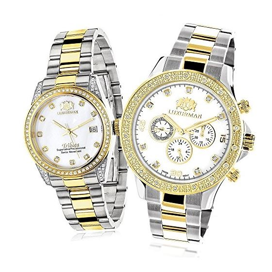 Matching Watches For Couples Two-Tone Yellow Gold