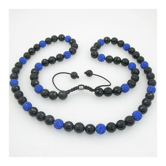 Mens beaded chain crystal gemstone bracelet ball pave necklace black and blue macrame rosary 1