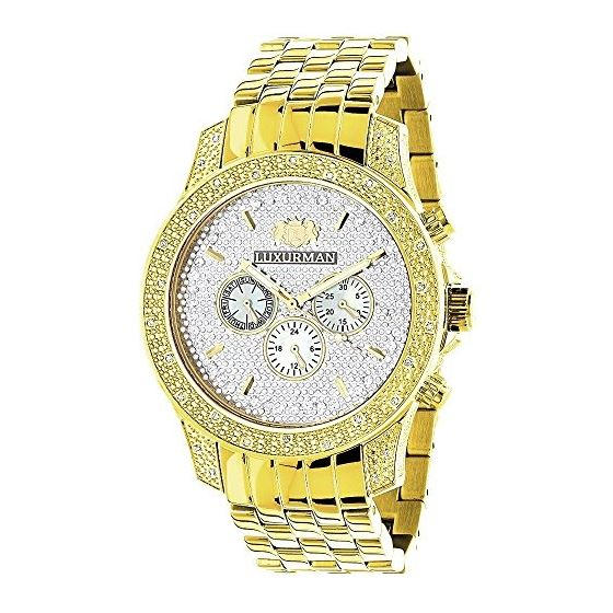 Luxurman Mens Diamond Watch 0.5ct Yellow Gold Plated in White Sparkling Stones. 1