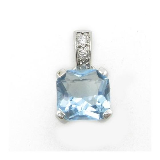 Ladies .925 Italian Sterling Silver tear drop pendant with blue stone Length - 20mm Width - 10mm 1