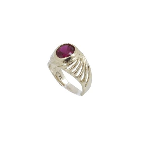 10k Yellow Gold Syntetic red gemstone ring ajjr88 Size: 2 1