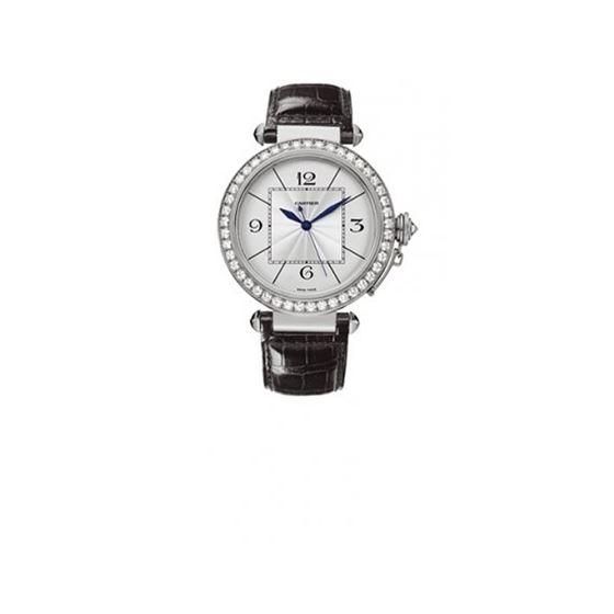 Cartier Pasha Diamond 18kt White Gold Mens Watch WJ120251