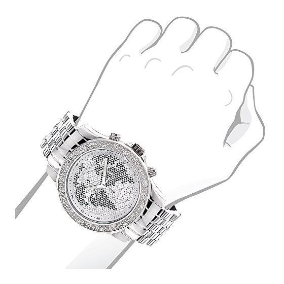 Mens Diamond Watch Worldmap 0.20 Ct Black White-3
