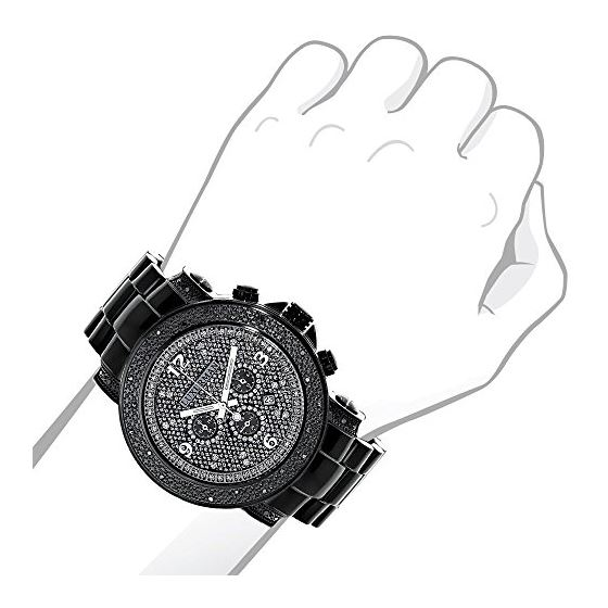 Mens Oversized Heavy Black Real Diamond Watch by LUXURMAN 0.75ct Chronograph 3