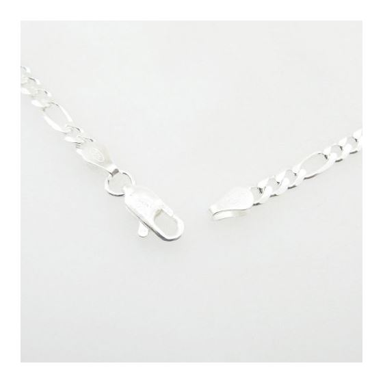 Silver Figaro link chain Necklace BDC69 3