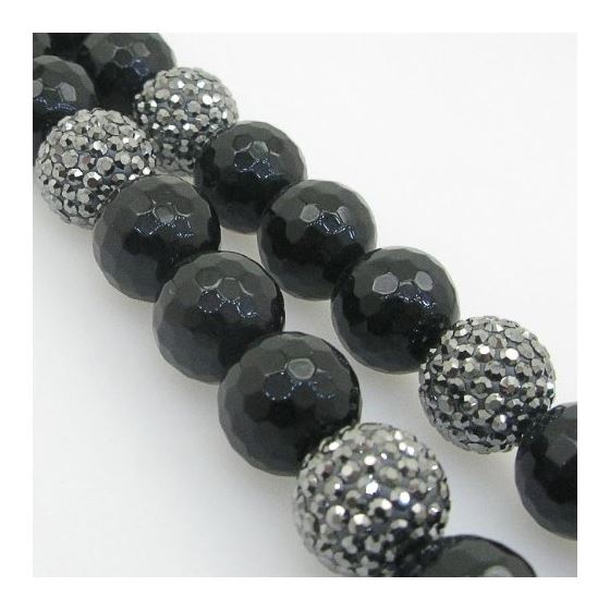 Mens Beaded Rosary Chain Crystal Gemstone Bracelet Ball Pave Macrame Necklace Black and Gray Rosary
