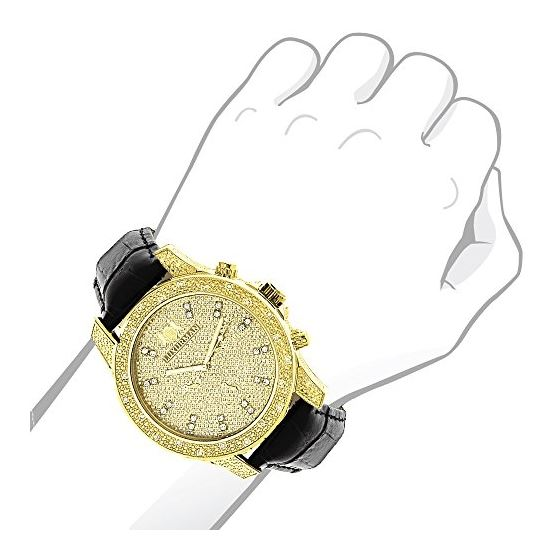 Mens Yellow Gold Plated Watch With Diamonds 0.5C-3