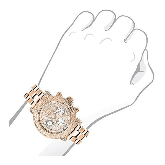 Oversized Ladies Diamond Watch Rose Gold Plated-3