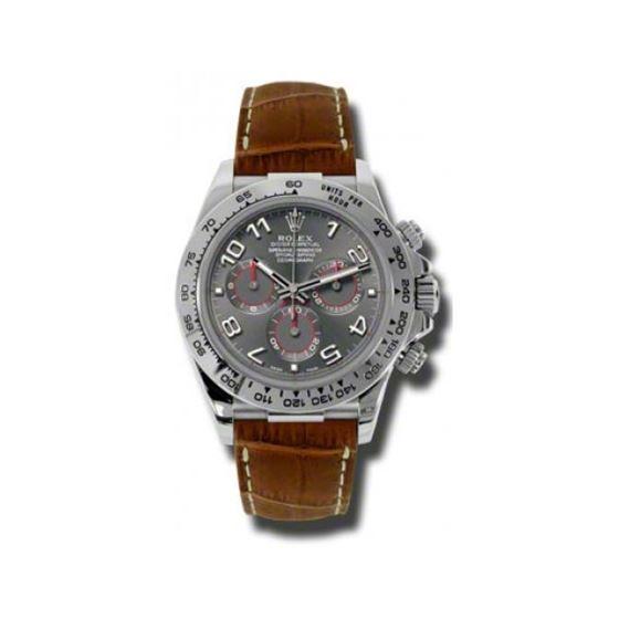 Rolex Watches Daytona White Gold Leather Strap 116519 Grabr