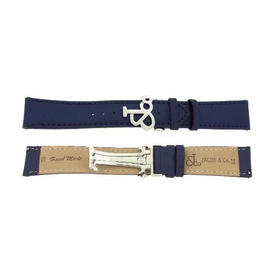 Jacob Co. Genuine Real Satin Blue Band Strap 20MM