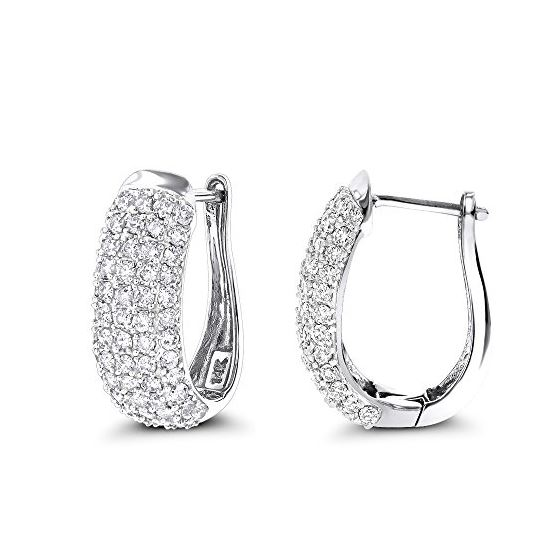 14K Pave Set Natural 1.5 Ctw Diamond Hoop Earrings