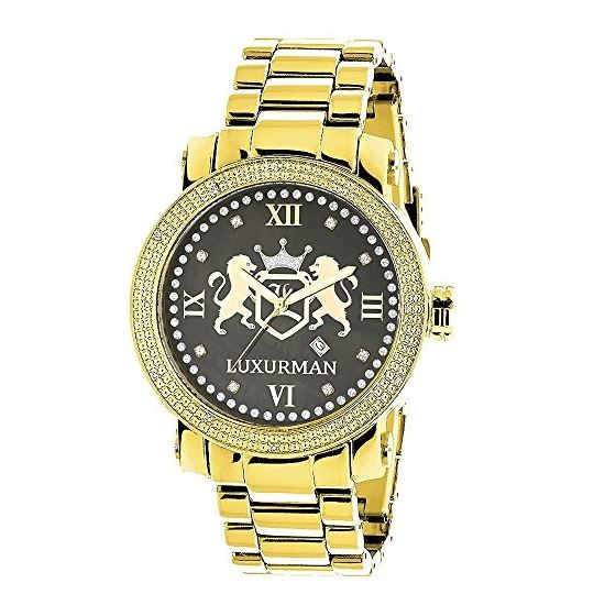 fdde02c4b81 Phantom Mens Large Real Diamond Watch Yellow Gold Plated 0.12ct by Luxurman