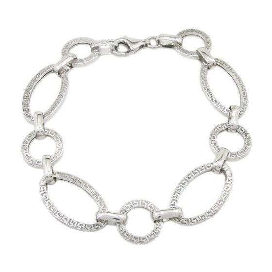 Sterling silver greek key oval round link bracelet SB105 7.5 inches long and 13mm wide 1