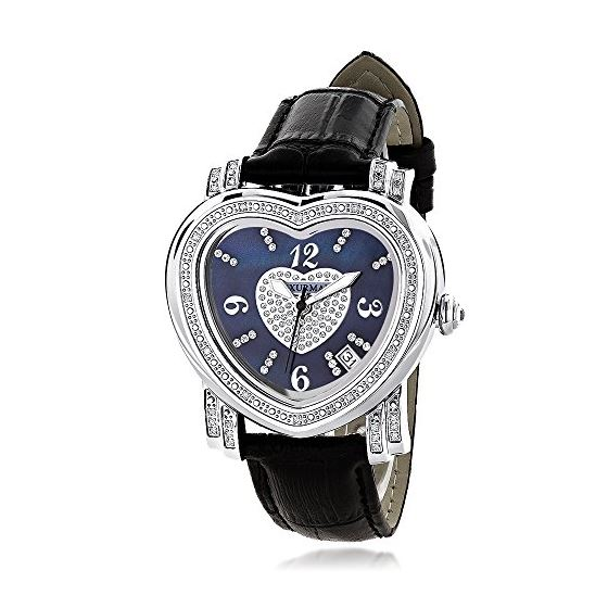 Ladies Floating Diamond Watch Blue Heart