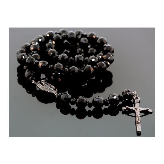 """Mens Genuine Black Onyx Crusifix Rosary Necklace 32"""" K1223 1"""