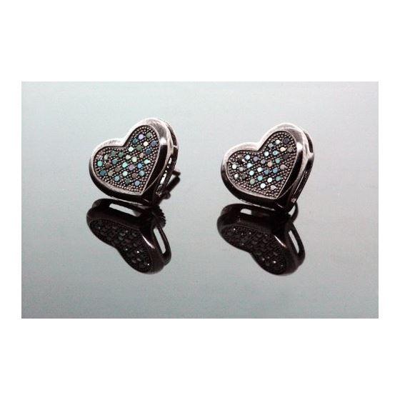 .925 Sterling Silver Black Heart Black Onyx Crystal Micro Pave Unisex Mens Stud Earrings 10mm 1