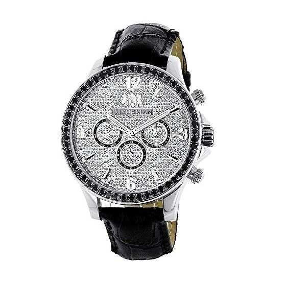 Luxurman Watches Black Diamond Watch 3ct Silver Case and a Black Leather Band 1