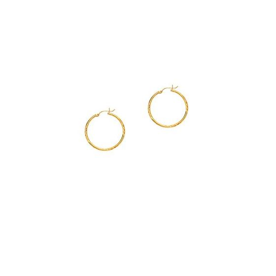 14K Yellow Gold Ladies Diamond Cut Hoop Earrings LT226