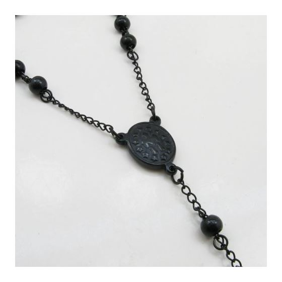 """""""Mens Black Stainless Steel Rosary Necklace 28"""""""" Strong 6mm with Cross 3"""""""