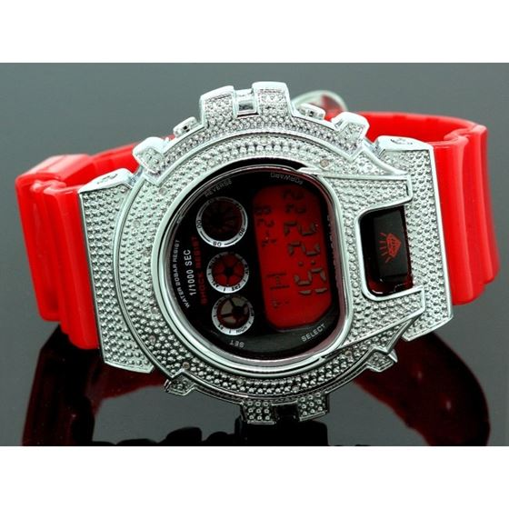 Ice Plus Mens Diamond Shock Style Watch White Case Red Band 1