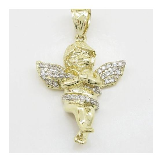 Mens 10k Yellow gold Yellow gold angel praying cz pendant LIGS9 3