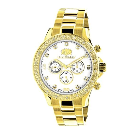 Luxurman Diamond Watches for Men 0.2ct Yellow Gold Plated Band White MOP Liberty 1