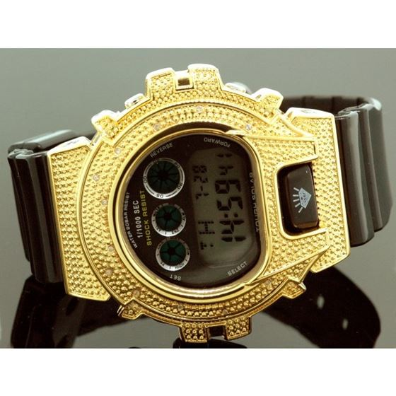 Ice Plus Mens Diamond Shock Style Watch Yellow Case Black Band 1