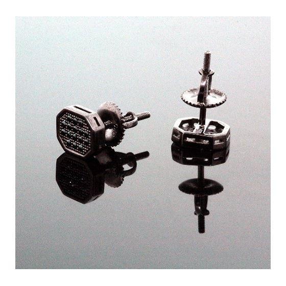 .925 Sterling Silver Black Octagon Black Onyx Crystal Micro Pave Unisex Mens Stud Earrings 10mm 3