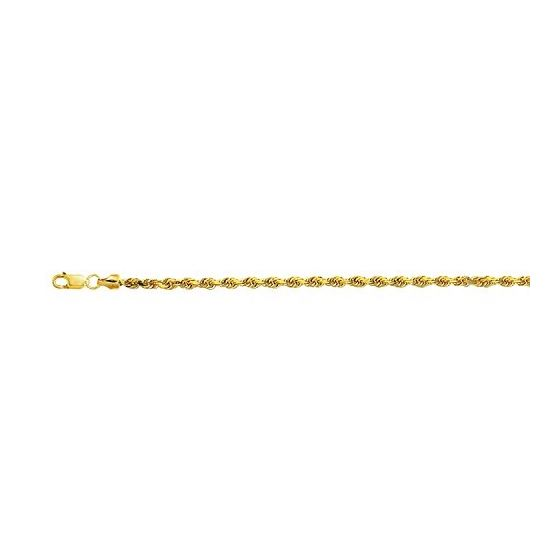 10K 20 inch long Yellow Gold 3.2mm wide Diamond Cut Hollow Sparkle Rope Chain with Lobster Clasp