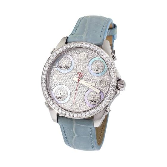 Jacob Co. Blue Band Mid-Size Five Time Zone 3.70Ct