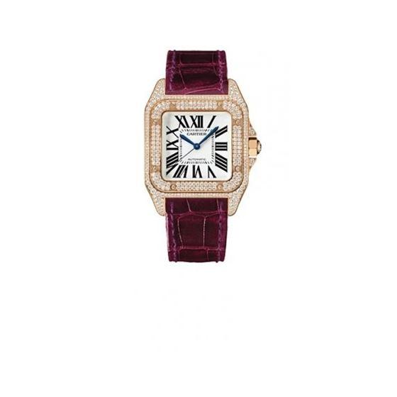 Cartier Santos 100 Diamond 18kt Rose Gold Burgundy Ladies Watch WM502151