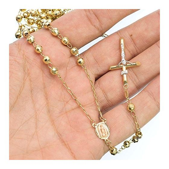 10K YELLOW Gold HOLLOW ROSARY Chain - 30 Inches Long 4.9MM Wide 3